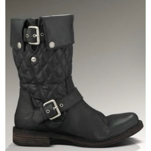 UGG Black Leather Conor Quilted Moto Boots